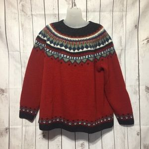 Eddie Bauer Nordic Fair Isle Sweater XXL Wool Red